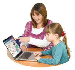 A parent and child learning English