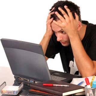 Staring at a computer screen