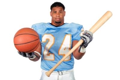 Confused man holding basketball and baseball bat