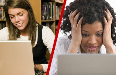 Smiling young woman on computer vs frustrated woman on computer