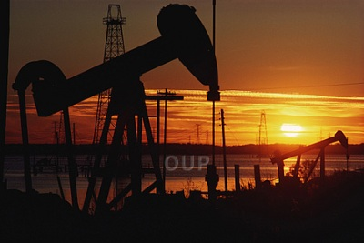 Oil pump by sunset