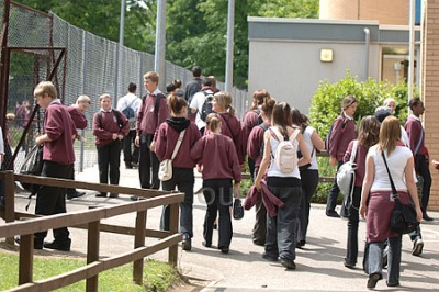teenagers outside school