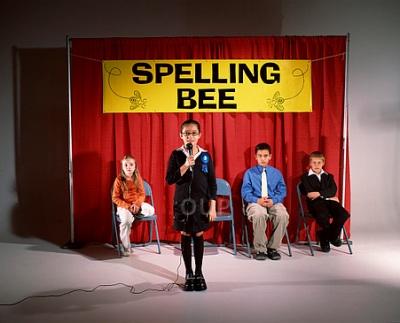 Pre-teens at a spelling bee
