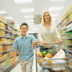 Mother and Son in supermarket