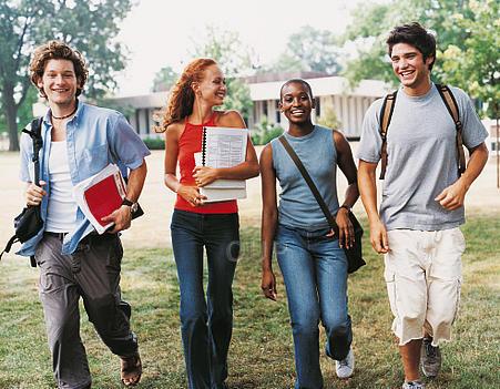 Group of teenagers walking to school