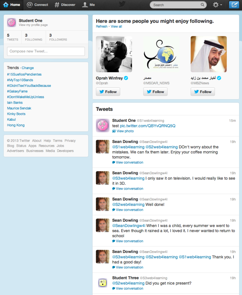 Sample Twitter home page
