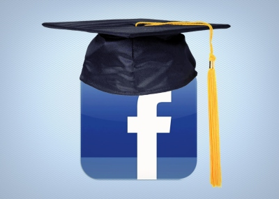 Facebook icon with mortar board on top