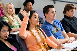 Young adults in class
