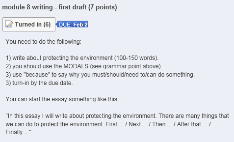 Figure 3: First draft with writing tips
