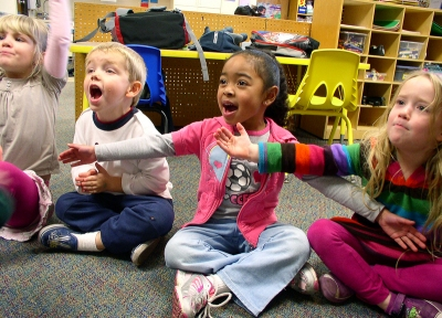 Pre-school children singing