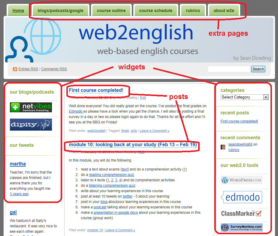 Using blogs to create web-based English courses