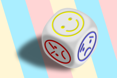 Dice with different moods on each face