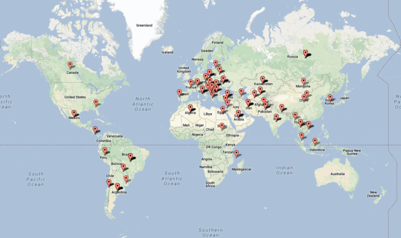 Headway Scholarship 2014 applicants map